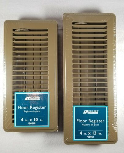 2 New Accord Ventilation Brown Steel Floor Registers Duct Op