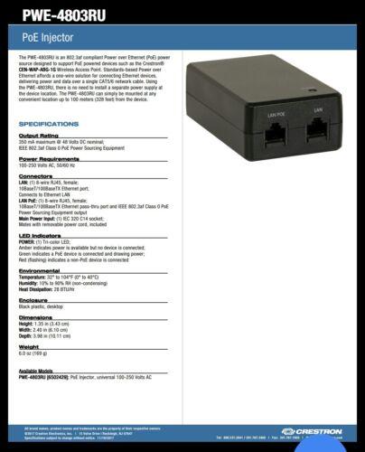 CRESTRON PWE-4803RU POE INJECTOR
