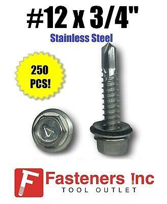 250 12 X 34 Stainless Steel Roofing Siding Screws Hex Washer Head Tek Epdm