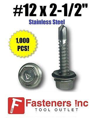 1000 12 X 2-12 Stainless Steel Roofing Siding Screws Hex Washer Head Tek Epdm