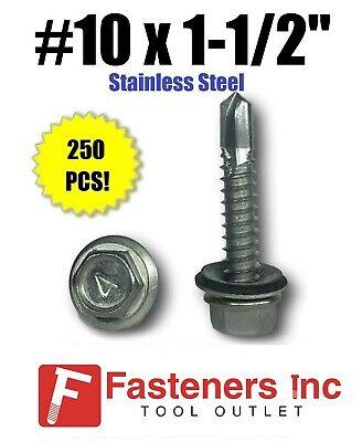 250 10 X 1-12 Stainless Steel Roofing Siding Screws Hex Washer Head Tek Epdm