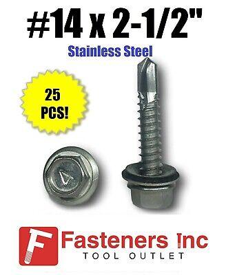 25 14 X 2-12 Stainless Steel Roofing Siding Screws Hex Washer Head Tek Epdm
