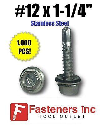1000 12 X 1-14 Stainless Steel Roofing Siding Screws Hex Washer Head Tek Epdm