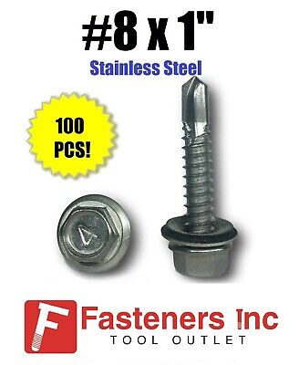 Qty 100  8 X 1 Stainless Steel Roofing Siding Screws Hex Washer Head Tek Epdm