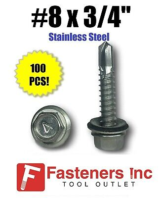 Qty 100 8 X 34 Stainless Steel Roofing Siding Screws Hex Washer Head Tek Epdm