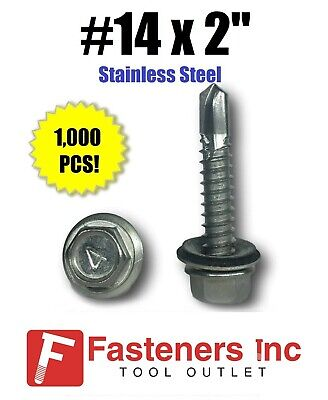 1000 14 X 2 Stainless Steel Roofing Siding Screws Hex Washer Head Tek Epdm