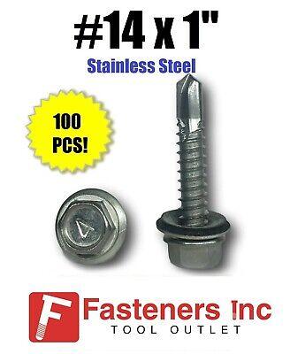 100 14 X 1 Stainless Steel Roofing Siding Screws Hex Washer Head Tek Epdm