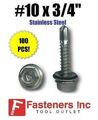 100 10 X 34 Stainless Steel Roofing Siding Screws Hex Washer Head Tek Epdm