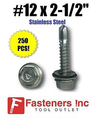 250 12 X 2-12 Stainless Steel Roofing Siding Screws Hex Washer Head Tek Epdm