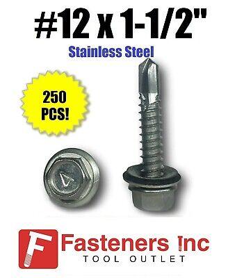 250 12 X 1-12 Stainless Steel Roofing Siding Screws Hex Washer Head Tek Epdm