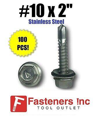 100 10 X 2 Stainless Steel Roofing Siding Screws Hex Washer Head Tek Epdm