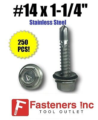 250 14 X 1-14 Stainless Steel Roofing Siding Screws Hex Washer Head Tek Epdm