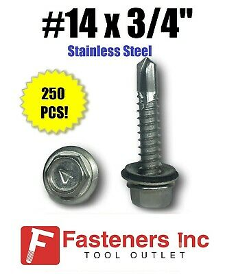 250 14 X 34 Stainless Steel Roofing Siding Screws Hex Washer Head Tek Epdm