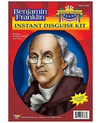 Benjamin Franklin Heroes In History Headpiece And Glasses Disguise Costume Kit - Halloween Costumes And History