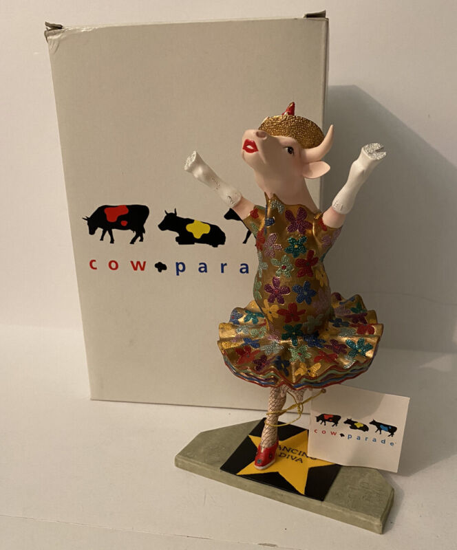 Cow Parade 2001 Dancing Diva Cow Figurine Item #9132 NIB with Tag