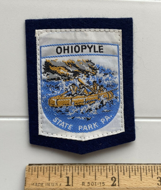 Ohiopyle State Park Youghiogheny River Rafting Souvenir Woven Felt Patch Badge