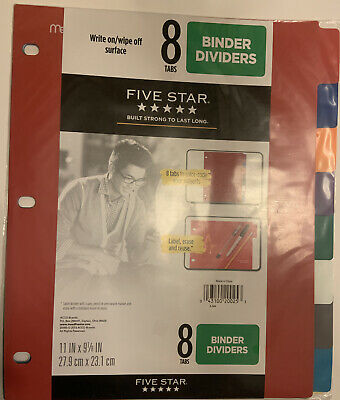 Five Star Mead 8 Tabs Binder Dividers Write On Wipe Off Multicolor For 3 Rings