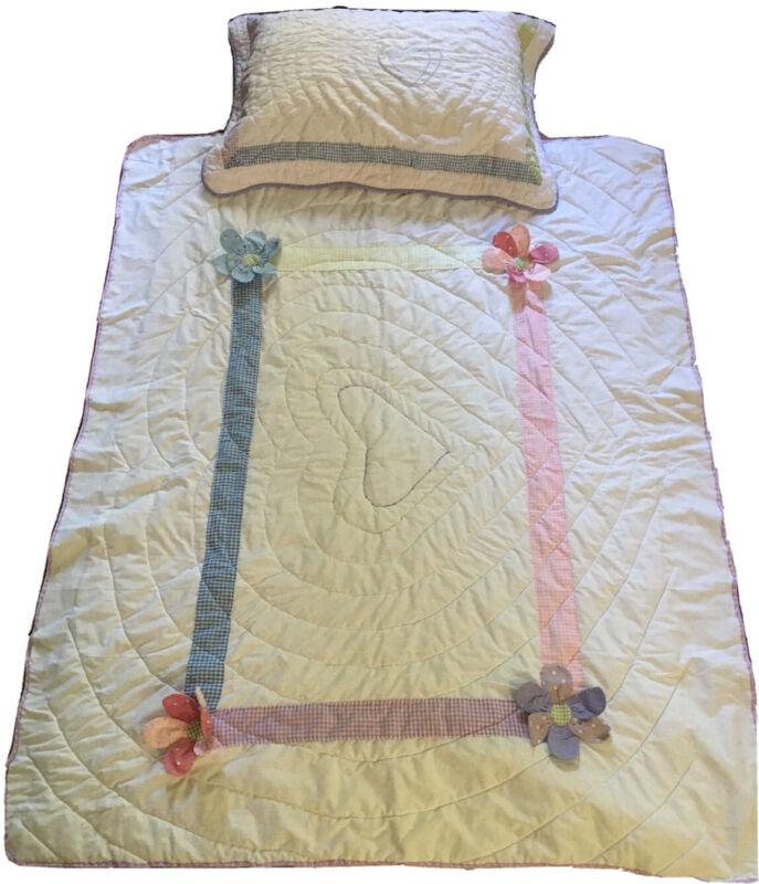 "60""x45"" White baby Toddler Crib Blanket Quilt  With Pillowcase Pastel Trim"