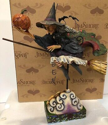 Rare Jim Shore Fly With Me For A Spell Flying Witch Pumpkin Broom Cat Halloween - Witches Spells For Halloween
