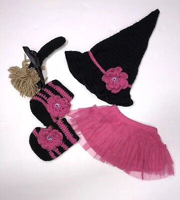 Crocheted Handmade Baby Girl Witch Halloween Costume Hat Booties Broomstick