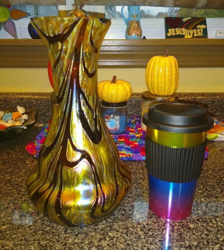 "Large Kralik Burgundy On Gold Swirl Vase 10"""