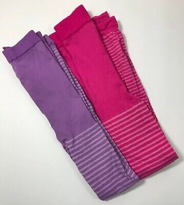 Girls Footless Tights Thin Sheer Striped Pink Purple White Lot Of 2 XS/S](Purple And Pink Striped Tights)