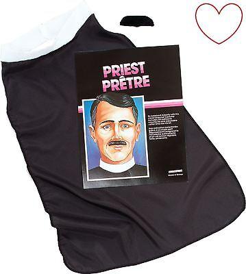 Vikar Priester Set Kostüm Kleid Herren Religiös Weiß - Priester Kostüm Weiß