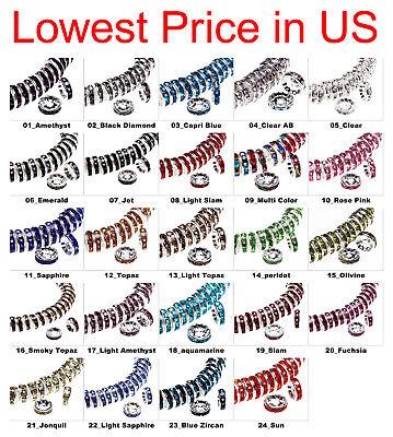 100 pcs Czech Crystal Rhinestone Silver Rondelle Spacer Beads 4,5,6,8,10,12mm Rondelle Spacer Beads