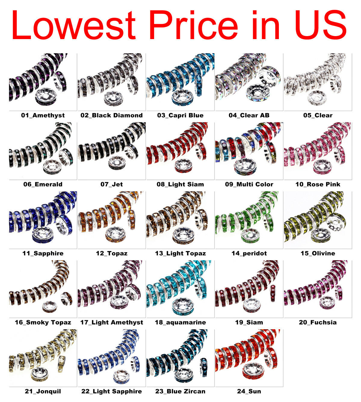 Beads - 100 pcs Czech Crystal Rhinestone Silver Rondelle Spacer Beads 4,5,6,8,10,12mm