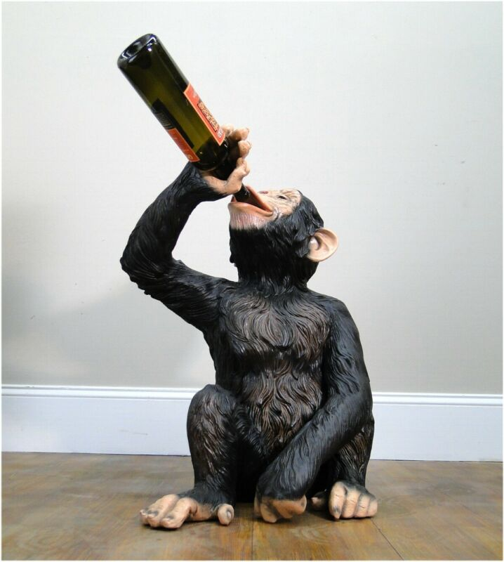 Drinking Monkey Statue Drunk Butler Wine Bottles Beer Ape Sculpture Biscaretti
