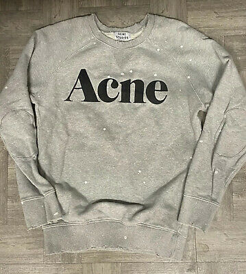 Authentic Acne Studios Distressed Bliss Merci Gray Sweatshirt Rare S