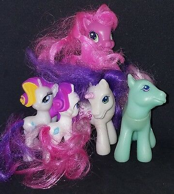 Lot Of 5 My Little Pony Figures 3 White a Pink and a Blue Please Read Descript.