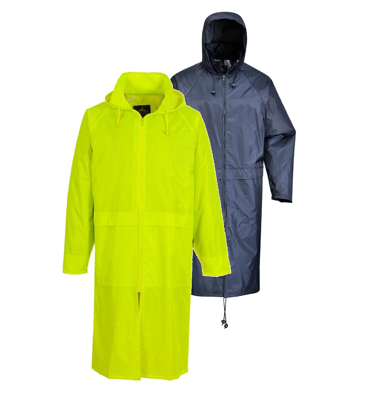 Portwest Long Rain Over Coat Zipped Jacket Poncho Hooded Waterproof Unisex Lin