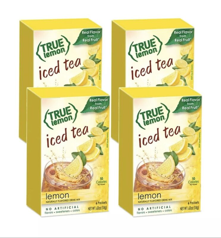 4 LEMON ICED TEA MIX by TRUE LEMON | Instant Powdered Drink Packets 24 Packs