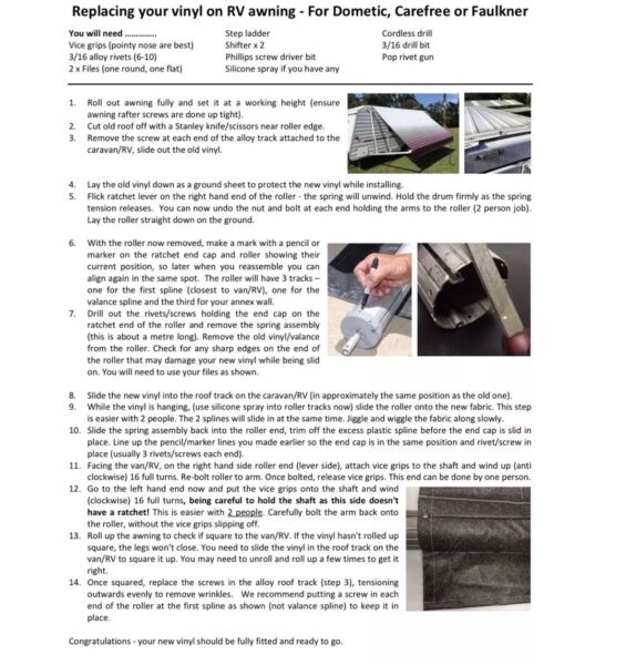 Replace your vinyl caravan awning Dometic, Fiamma,A&E