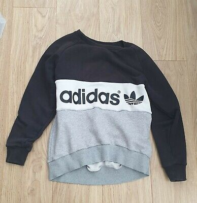 Adidas Size 8 Ladies Jumper Grey black white