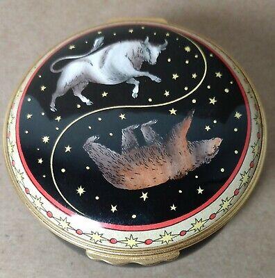 Halcyon Days Enamel Trinket Box Yin and Yang Bear and Bull Wall Street