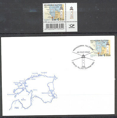 Estonia FDC and Stamp 2008 MNH** ''Lighthouse Mehikoorma''
