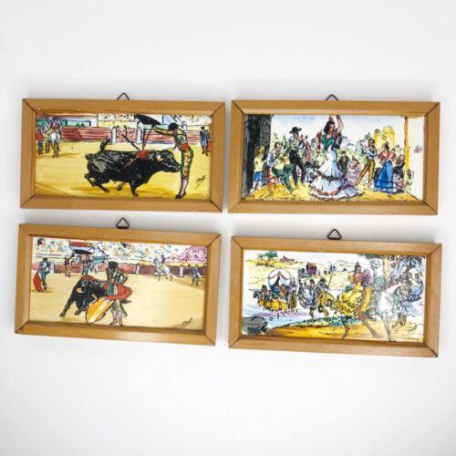 Vintage Hand Painted Spanish Bullfighter Flamenco Dancer Matador Framed Tile Set