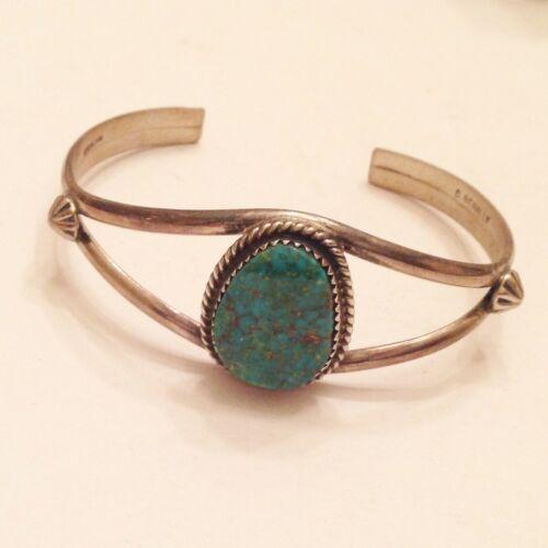 """SIgned """"D Benally"""" Navajo Southwest Turquoise Cuff Bracelet Sterling Silver"""
