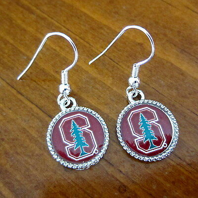 New  Official Stanford University Cardinal S Logo Silver Charm Earrings Jewelry