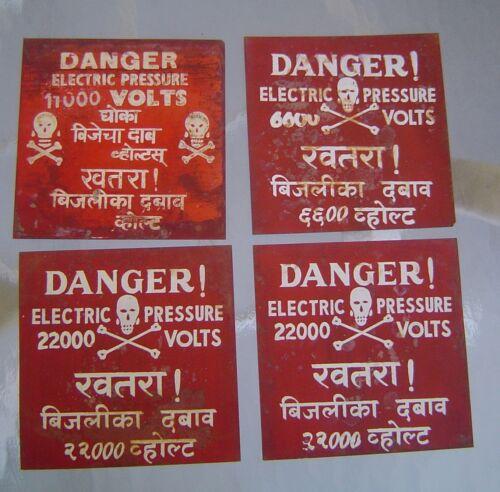 4 Vintage Danger Electrical Pressure High Voltage Signs - Skull and Crossbones