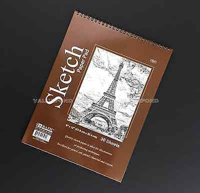 "9"" X 12"" Premium SKETCH BOOK Paper Pad 30 Sheets Quality Top Spiral Bound (F01)"