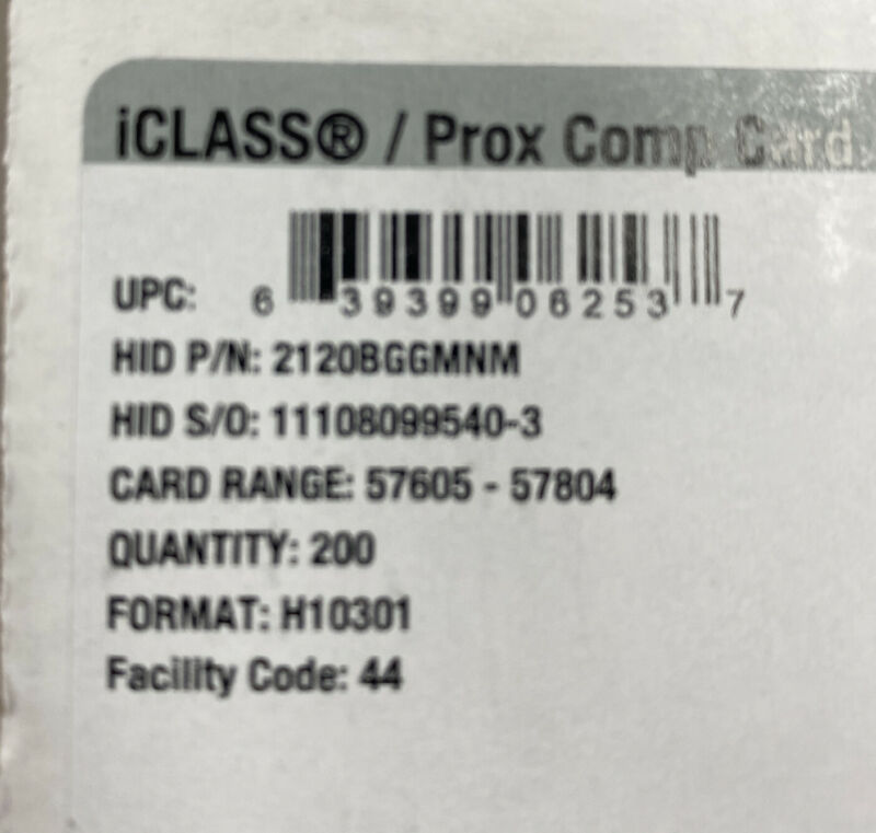 HID i lCLASS /Prox Comp Card Facility Code# 44/ Format: H10301 Qty 2300