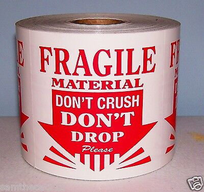 500 3x3 Fragile Material Do Not Drop Crush Esd Label