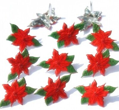 Holiday Brads - POINSETTIA BRADS Christmas Flower Holiday Scrapbooking Stamping Card Making