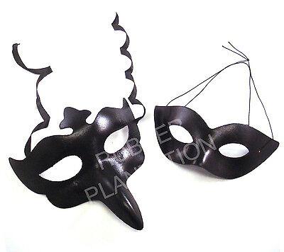 Schwarz Lederoptik Venezianische Maskerade Masken Herren Damen His & Hers