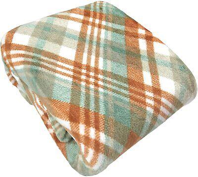 Soft Fall Throw Blanket: Orange Cream Green Plaid Design