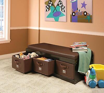Kids Toys Organizer Storage Padded Bench 3 Bins Toy Box Brown Chest Wooden Trunk Storage Toy Box Bench