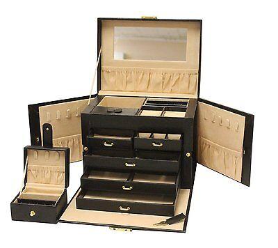Luxurious Large Black Leather Jewelry Box Travel Case Storag